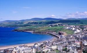 AHDW9W Peel Town and Bay Isle of Man UK
